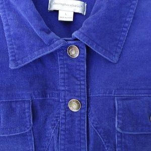 Christopher & Banks blue corduroy button up jacket